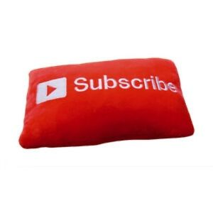 YouTube subscribe red throw pillow